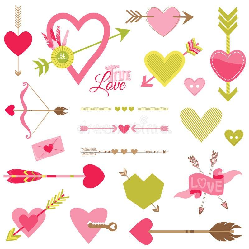 Amor, corazón y flechas fijados libre illustration