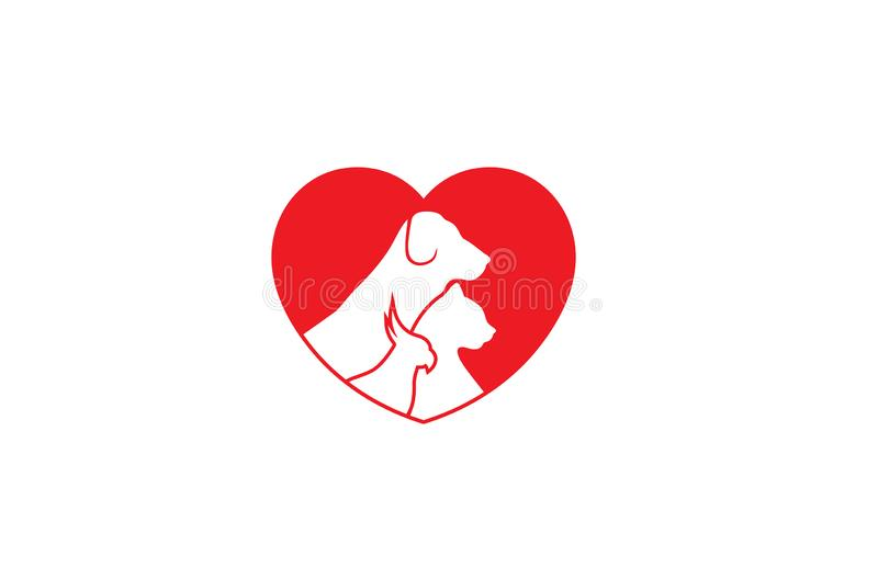 Amor criativo Logo Design Vetora Symbol Illustration do animal de estimação ilustração do vetor