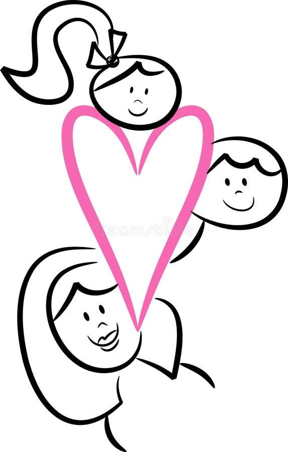 Amor da família: Mamã e miúdos ilustração do vetor