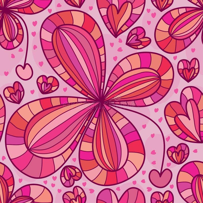 Amor da flor que deixa cair o teste padrão sem emenda ilustração stock