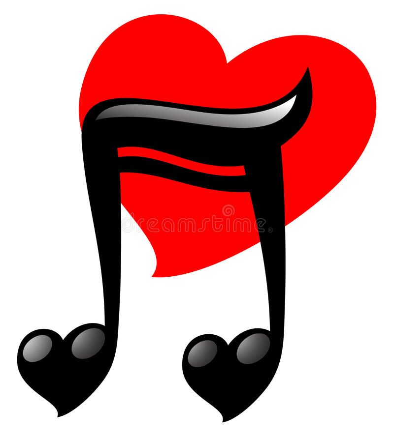 Amor da música do coração ilustração do vetor
