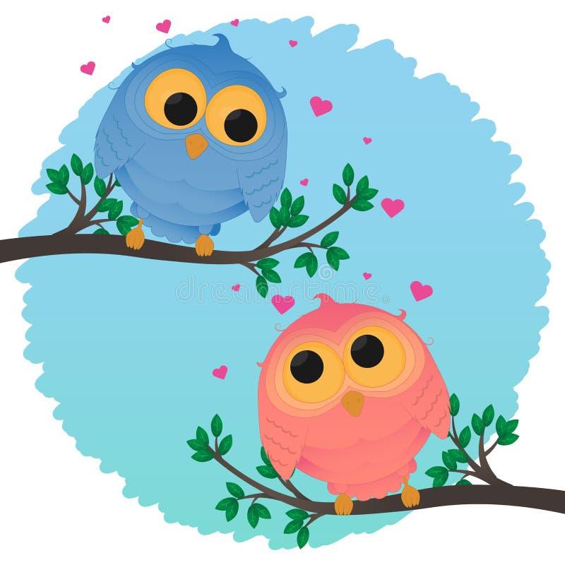 Amor da menina e do menino da coruja dos pares dos desenhos animados imagens de stock