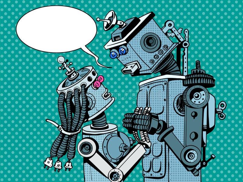 Amor da mulher do homem dos robôs dos pares ilustração stock