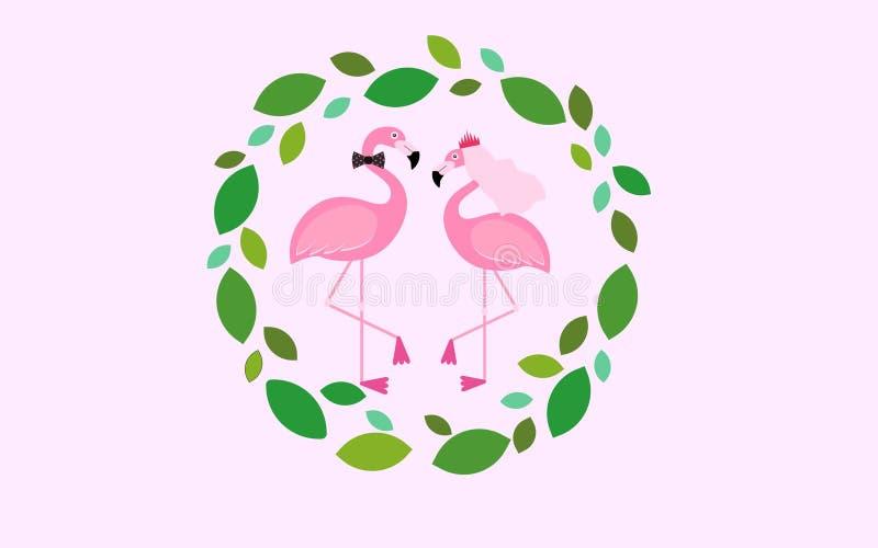 Amor da noiva do noivo dos pares do convite do casamento do flamingo fotografia de stock