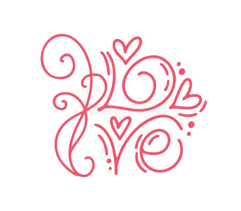 Amor da palavra da caligrafia do monoline do vetor Valentine Day Hand Drawn Lettering Cartão do projeto da garatuja do esboço do  ilustração royalty free