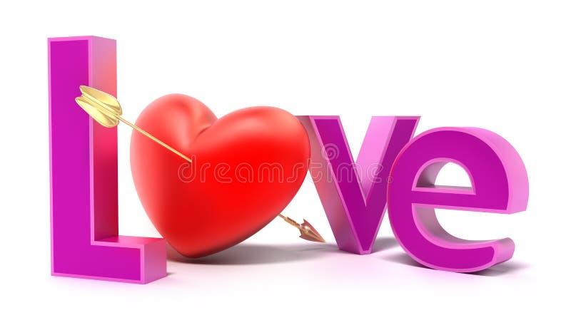 Amor da palavra com letras coloridas ilustração stock