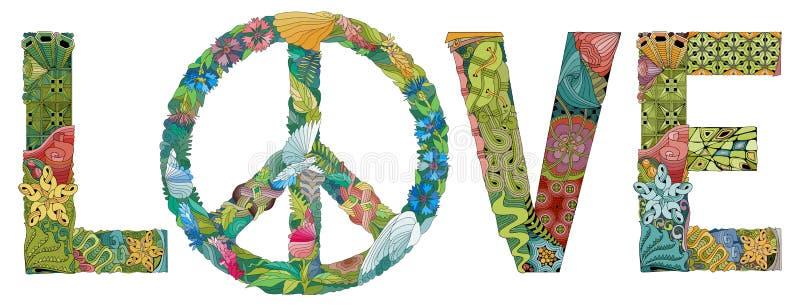 AMOR da palavra com o símbolo da paz Objeto decorativo do zentangle do vetor ilustração royalty free