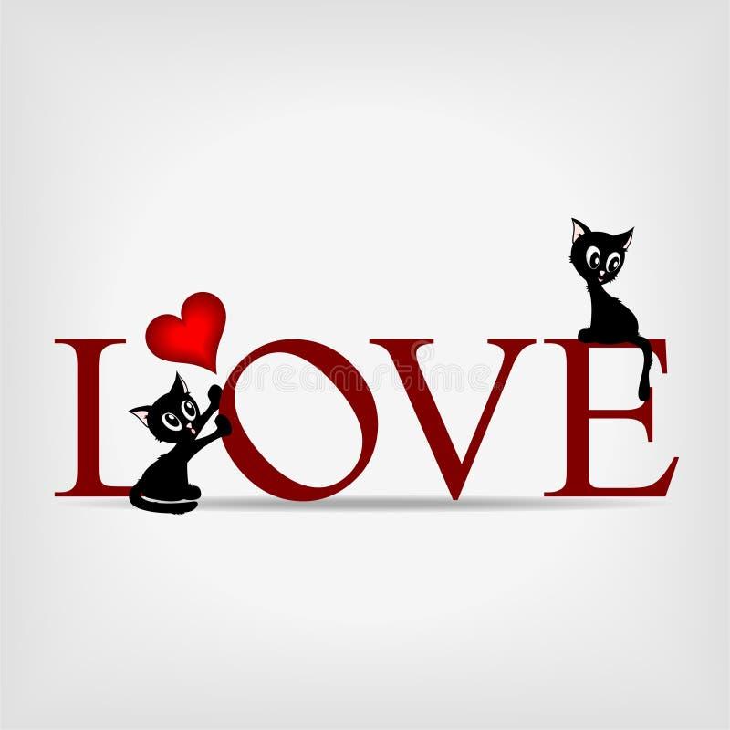 Amor da palavra com os dois gatinhos bonitos ilustração stock