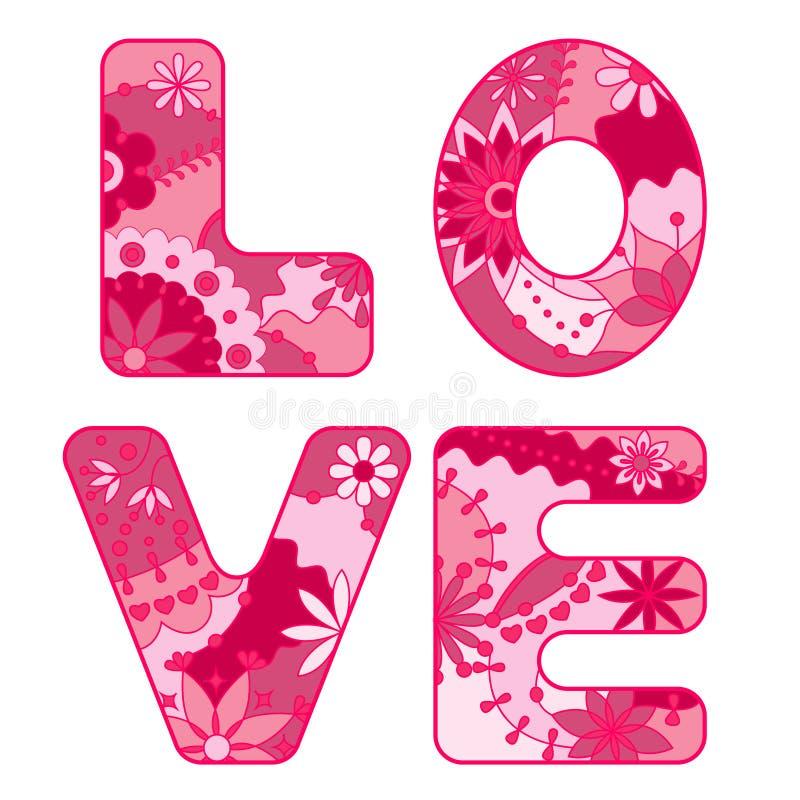 Amor da palavra pintado cor-de-rosa ilustração do vetor