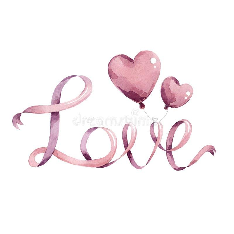Amor das fitas e dos corações dos balões ilustração stock