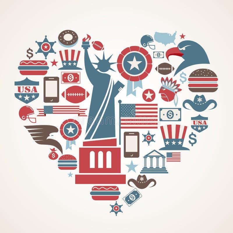 Amor de América - forma do coração com muitos ícones do vetor ilustração do vetor