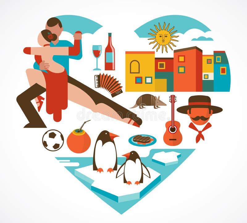 Amor de Argentina - coração com um grupo de ícones ilustração royalty free