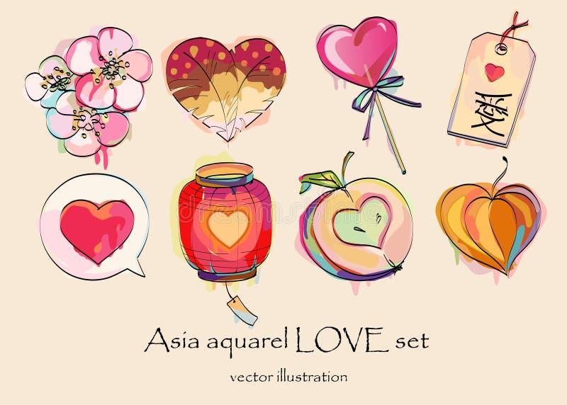 amor de Asia de la acuarela fijado para el día de tarjeta del día de San Valentín fotografía de archivo libre de regalías