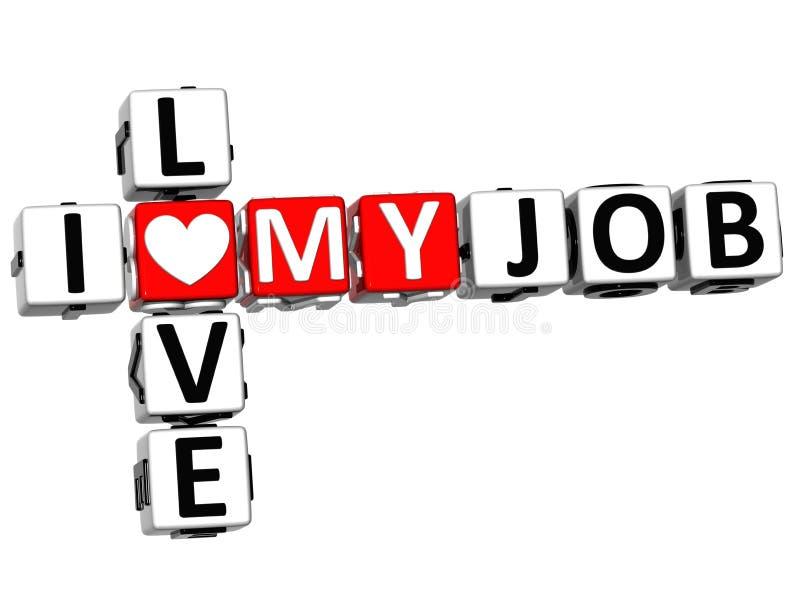 amor de 3D I mi Job Crossword ilustración del vector