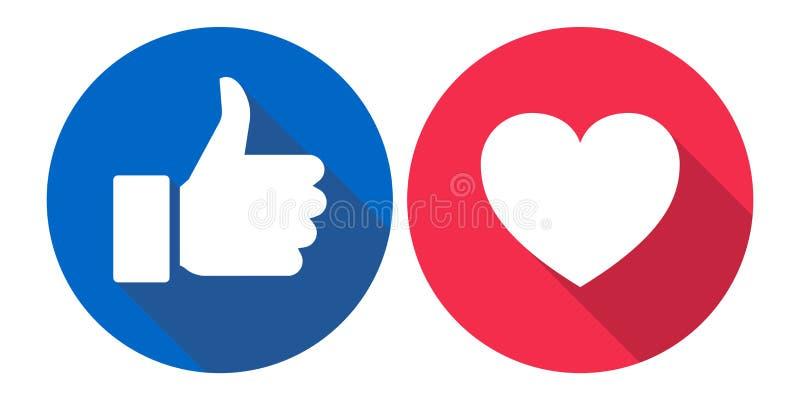 Amor de Facebook y como los iconos coloridos stock de ilustración