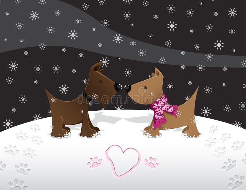 Amor de filhote de cachorro da neve ilustração royalty free