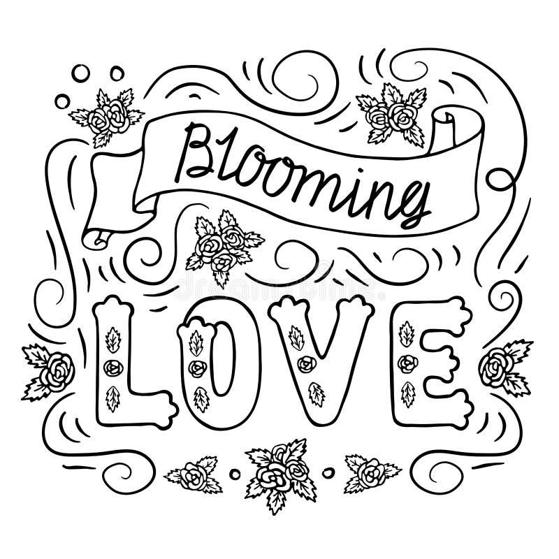 Amor de florescência Arte romântica do vintage Rotulação da mão preta no fundo branco Página do livro para colorir, estêncil ilustração royalty free