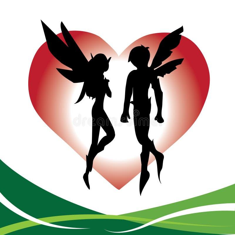 Amor de hadas de los pares ilustración del vector
