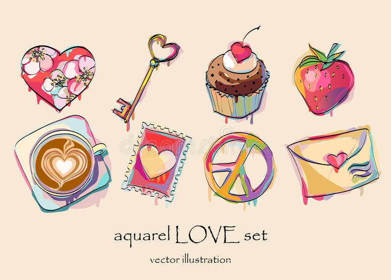 Amor de la acuarela fijado para el día de tarjeta del día de San Valentín foto de archivo