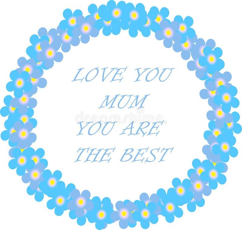 Amor de la bandera de la tipografía usted momia, usted es la mejor guirnalda azul y las letras en un fondo blanco, nomeolvides fl libre illustration