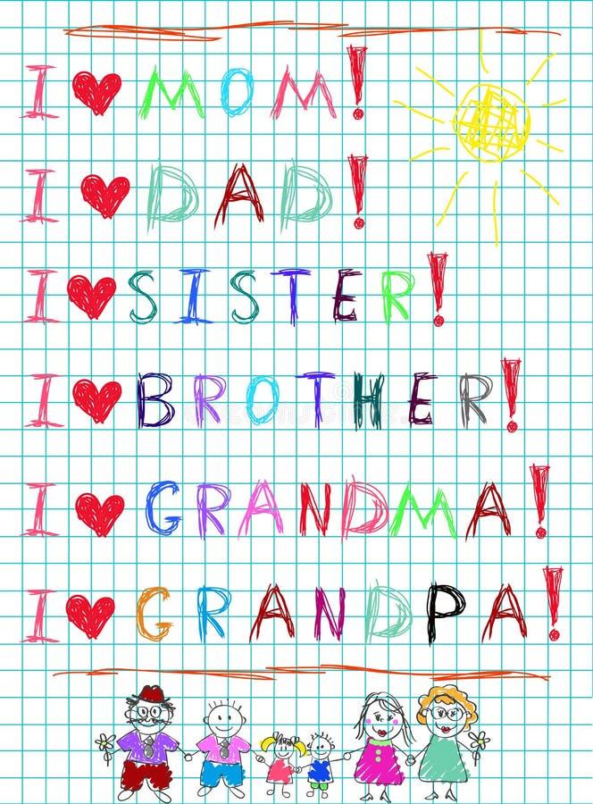 Amor de la escritura i de la mano de los niños mi familia y caracteres exhaustos de la mamá, del papá, de niños y de abuelos ilustración del vector