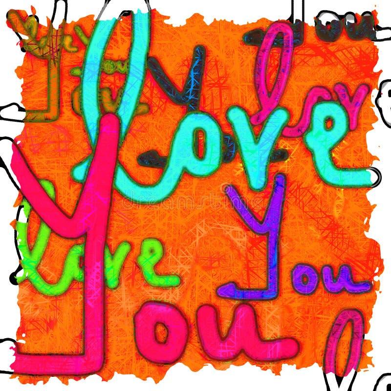 Amor de la escritura usted imagen de fondo con colores vibrantes libre illustration
