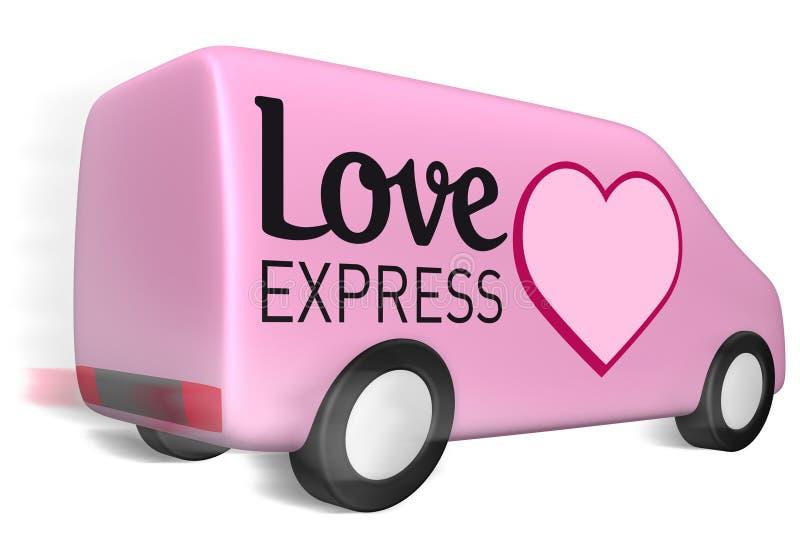 Amor de la furgoneta de salida expreso stock de ilustración