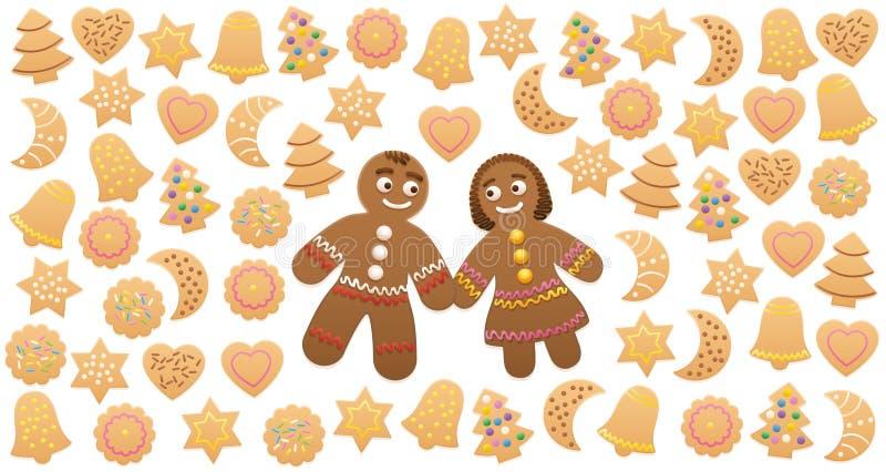 Amor de la mujer del hombre de pan de jengibre de las galletas de la Navidad ilustración del vector