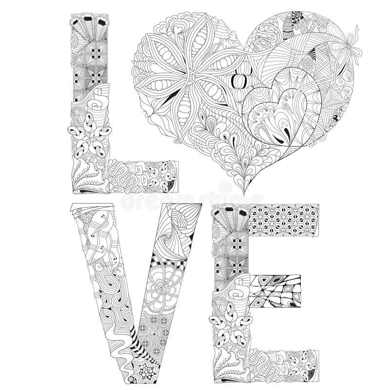 Amor De La Palabra Con El Corazón Para Colorear Objeto Decorativo ...