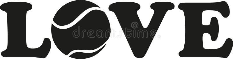 Amor de la palabra con la pelota de tenis ilustración del vector