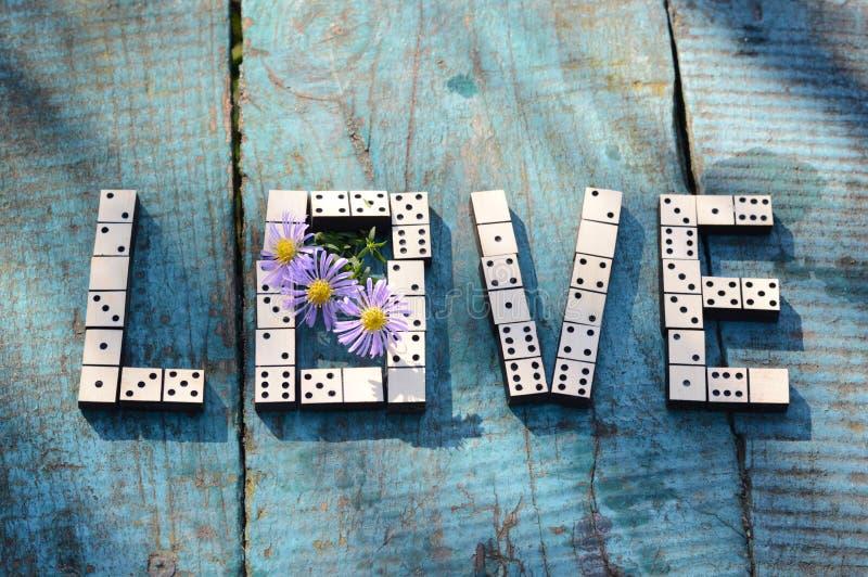 Amor de la palabra de dominós de madera foto de archivo