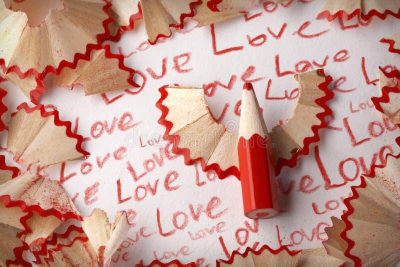Amor de la palabra, en lápiz foto de archivo