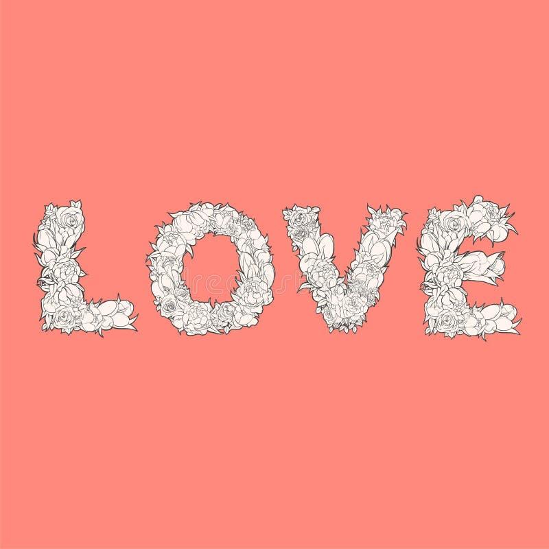 Amor de la palabra en rojo ilustración del vector