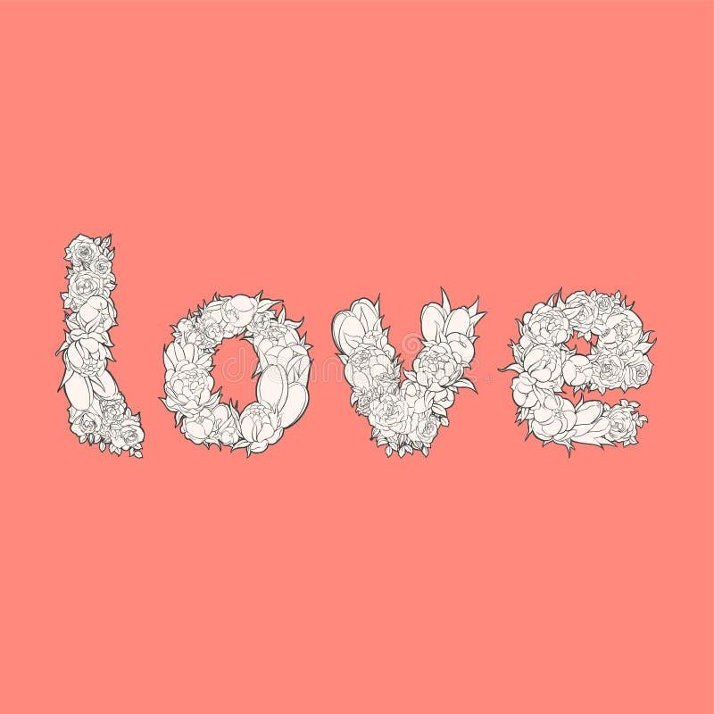 Amor de la palabra en rojo stock de ilustración