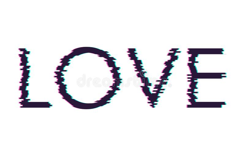 Amor de la palabra de la interferencia de Digitaces Impresión de la camiseta Ilustración del vector ilustración del vector