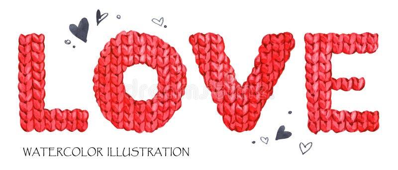 Amor de la palabra Letras románticas Fondo dibujado mano del texto con palabra del amor libre illustration