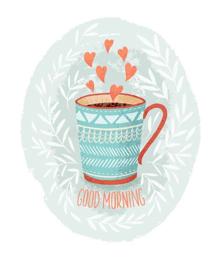 Amor de la taza de café stock de ilustración