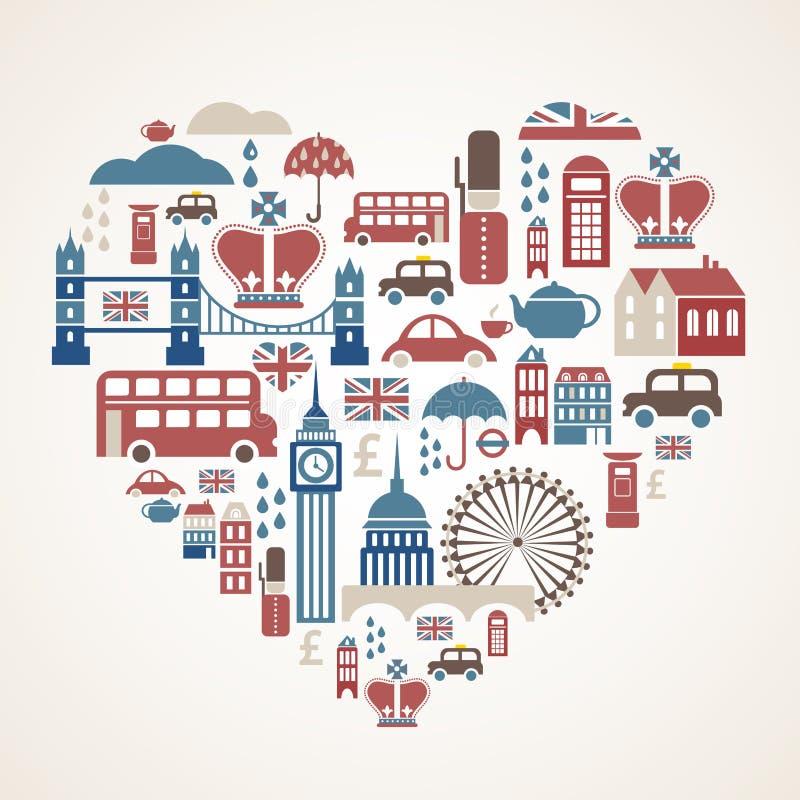 Amor de Londres - coração com muitos ícones do vetor ilustração royalty free