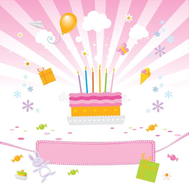 Amor de los cabritos él torta de cumpleaños ilustración del vector