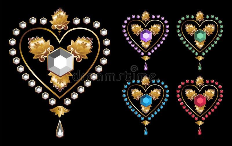 Amor de los corazones del diamante ilustración del vector