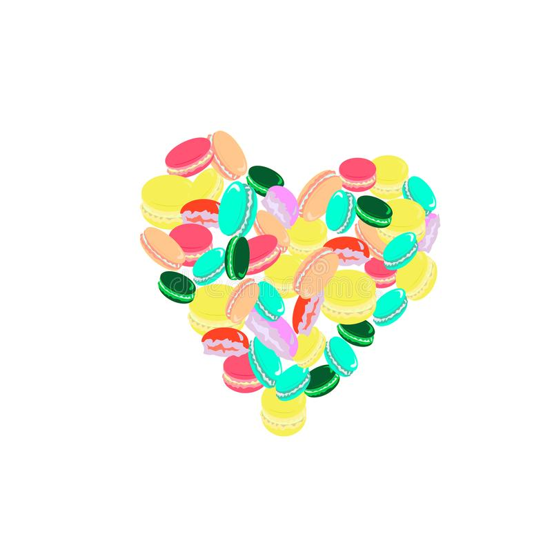 Amor de los macarrones multicolores stock de ilustración