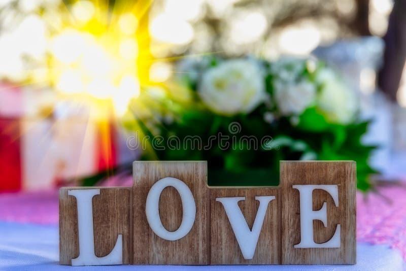 AMOR de madera de las letras Palabra del amor fotografía de archivo libre de regalías