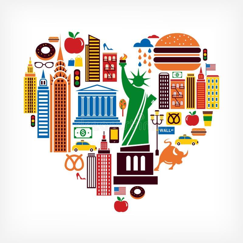 Amor de New York - forma do coração com muitos ícones do vetor ilustração stock