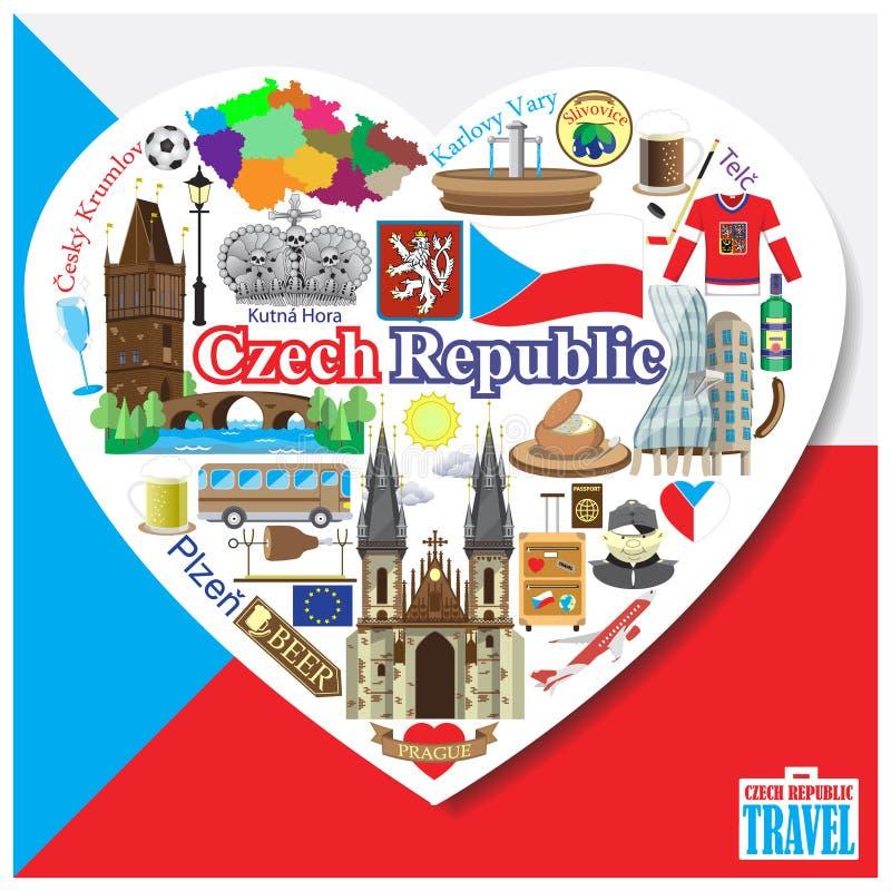 Amor de República Checa Vector ícones e grupo de símbolos de marcos no formulário do coração ilustração do vetor