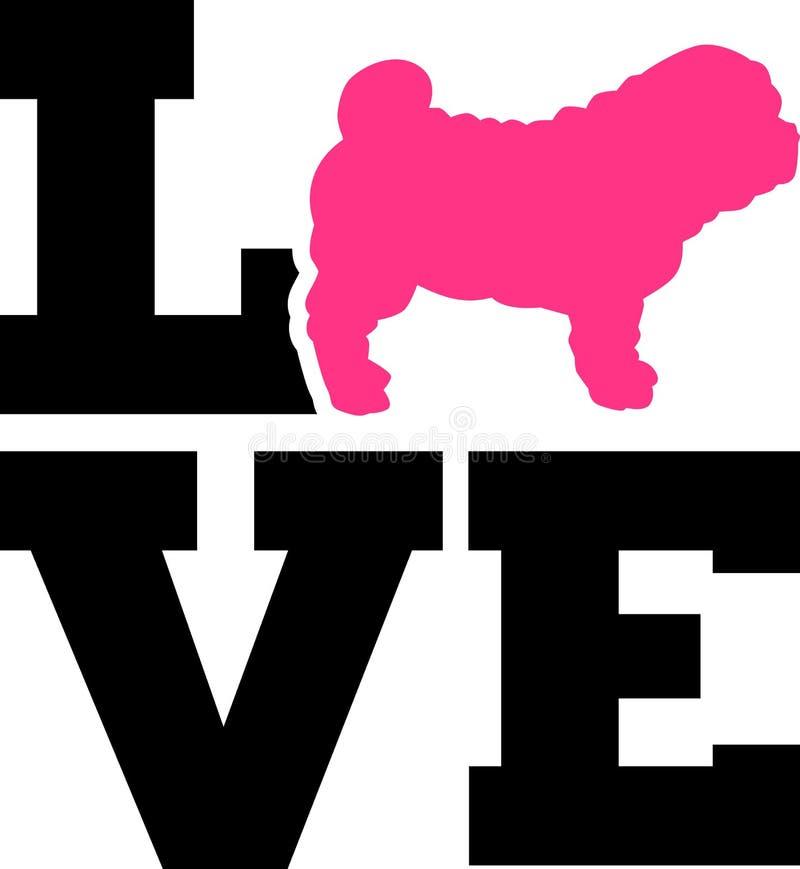 Amor de Shar Pei con la silueta rosada ilustración del vector