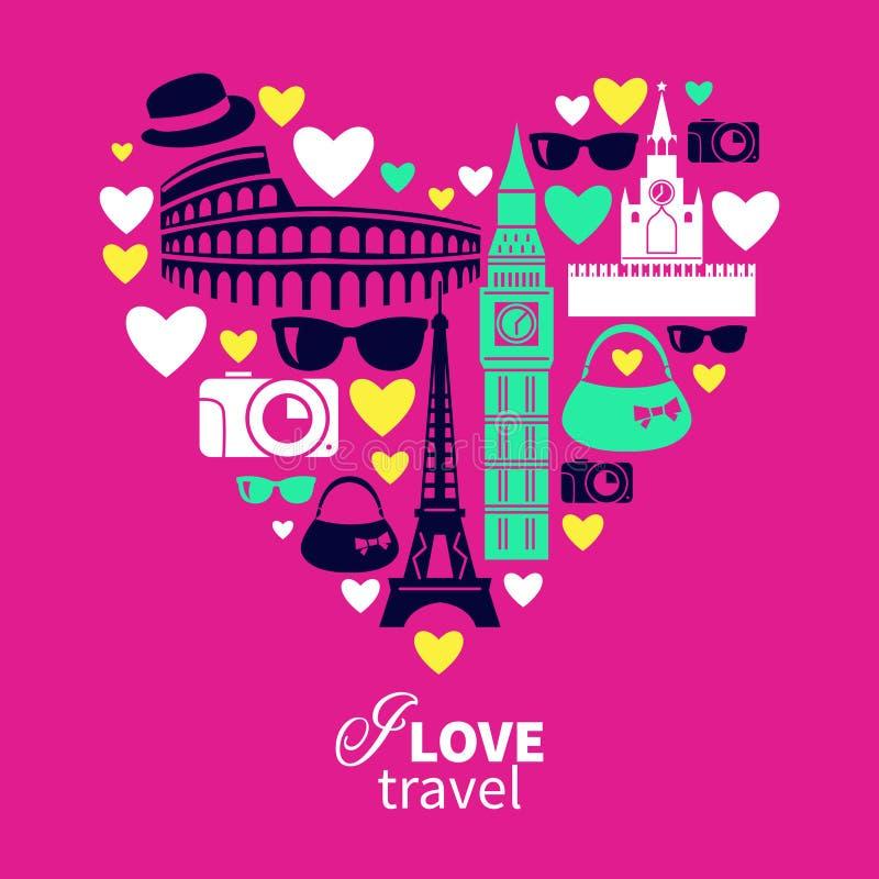 Amor de viagem Forma do coração com ícones do curso ilustração stock