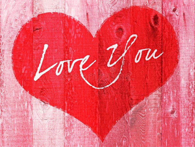 Amor del día de fiesta del día de tarjeta del día de San Valentín usted saludo de madera del corazón stock de ilustración