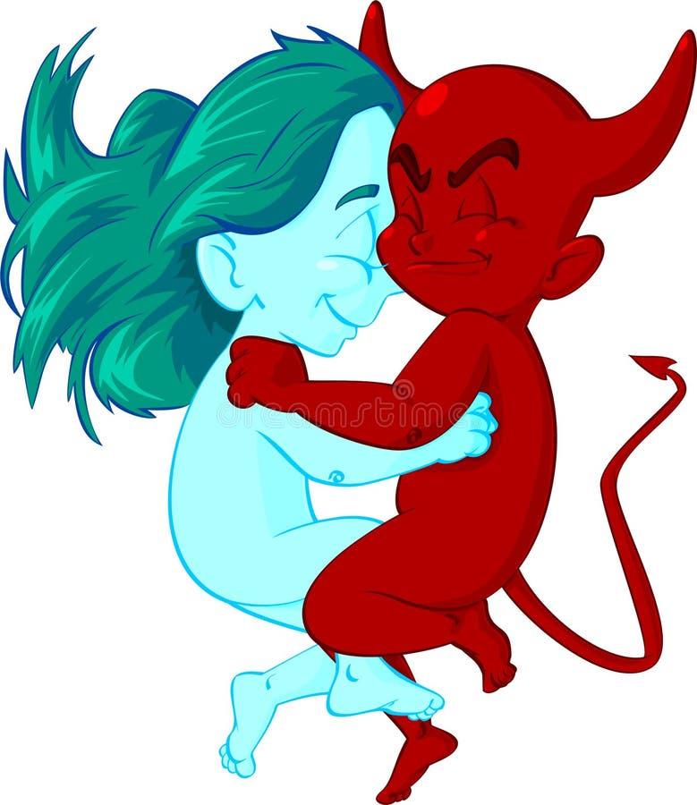 Amor del demonio del fuego de la diosa del hielo stock de ilustración