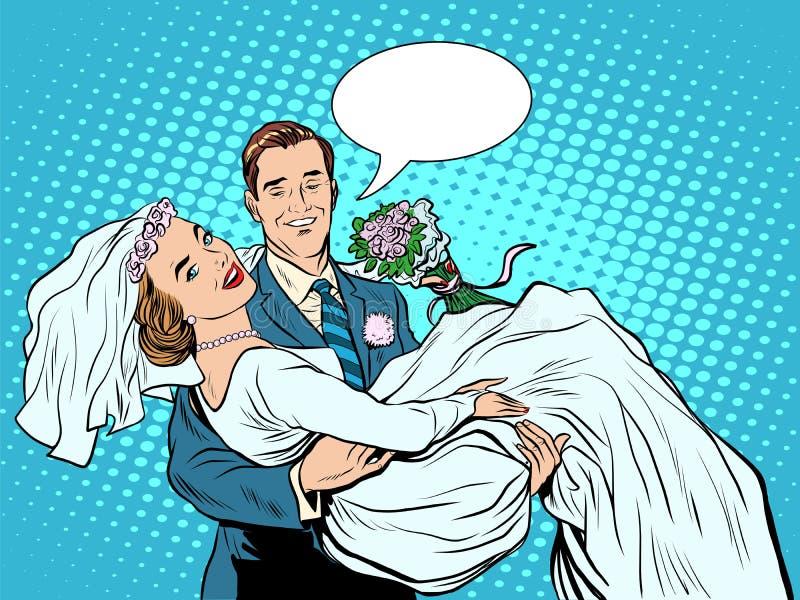 Amor del novio de la novia de los pares de la boda a mano stock de ilustración