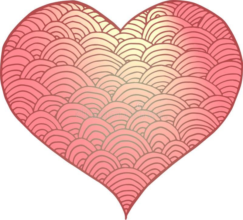 Amor del rosa de la pendiente del corazón de Zentangle foto de archivo libre de regalías
